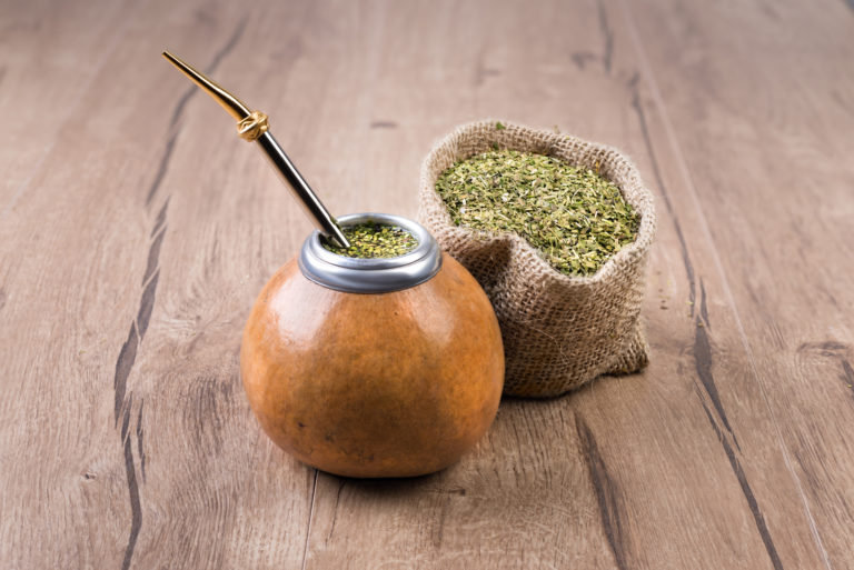 Yerba mate in a traditional calabash gourd